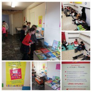 Pendant les récréations les enfants peuvent se plonger dans ces nouveaux livres bien installés dans le couloir des P1-P2